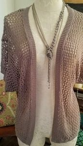 Willow & Clay Crochet Knit Short Sleeve Sweater